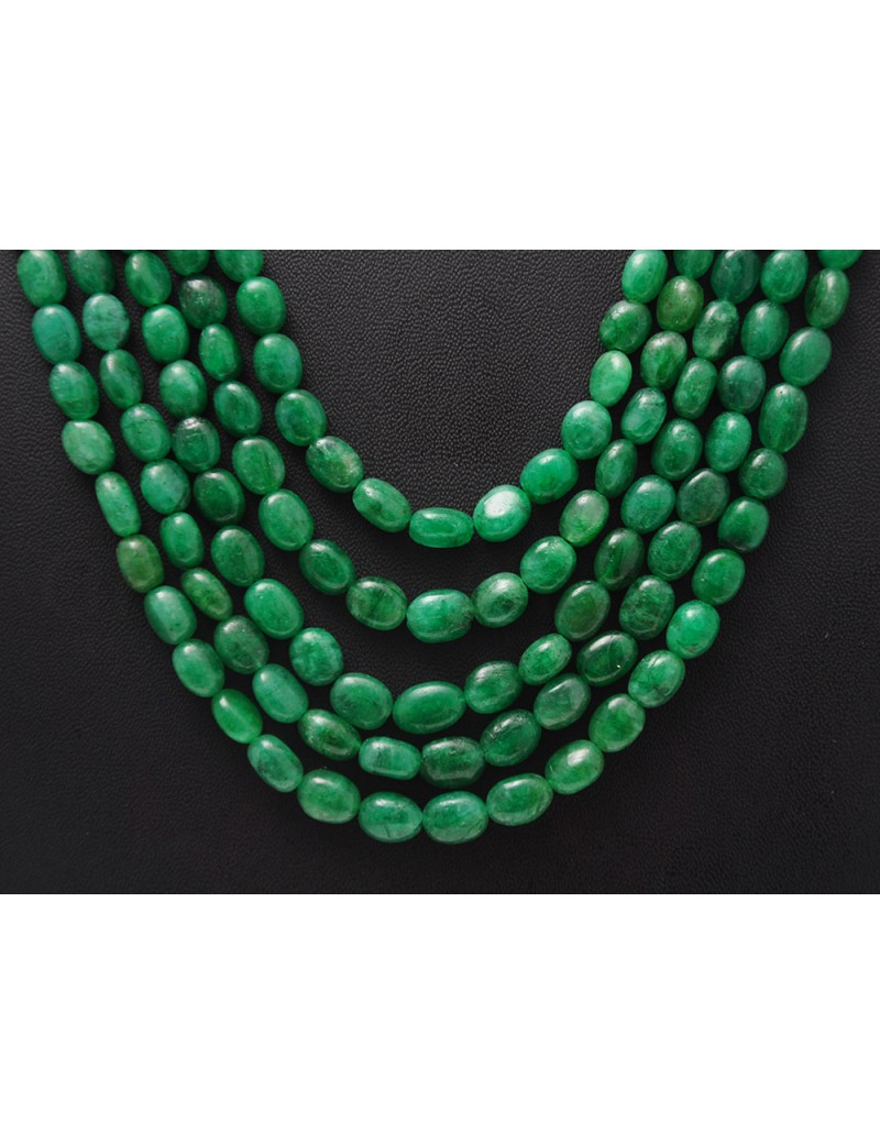5 Rows of Emerald Gemstone Oval Shaped Cabochon Bead Necklace