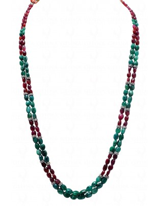 2 ROWS EMERALD & PINK SPINEL GEMSTONE OVAL SHAPED BEAD NECKLACE NP1006