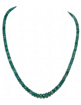 SINGLE STRAND OF EMERALD GEMSTONE ROUND FACETED BEAD NP1011
