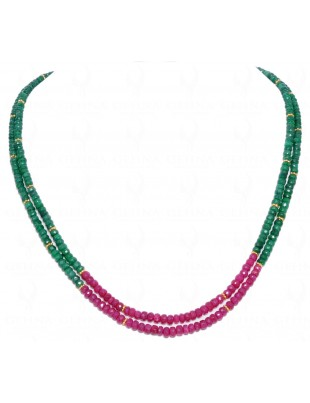 2 ROWS NECKLACE OF EMERALD & RUBY GEMSTONE ROUND FACETED BEAD NP1022