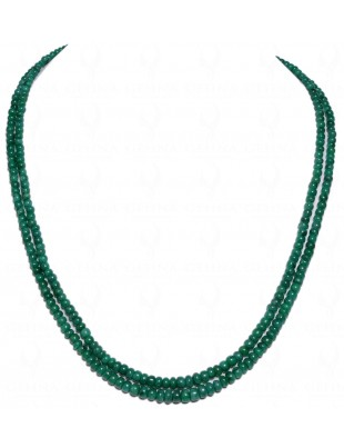 2 ROWS EMERALD CABOCHON BEAD NECKLACE NP1033
