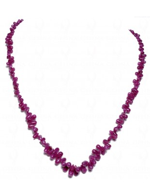 "18"" INCHES LONG RUBY GEMSTONE CABOCHON DROPS NECKLACE NP1037"