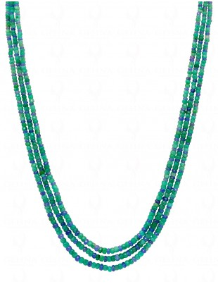 2 ROWS NECKLACE OF EMERALD & BLUE SAPPHIRE NATURAL GEMSTONE BEAD NP1083