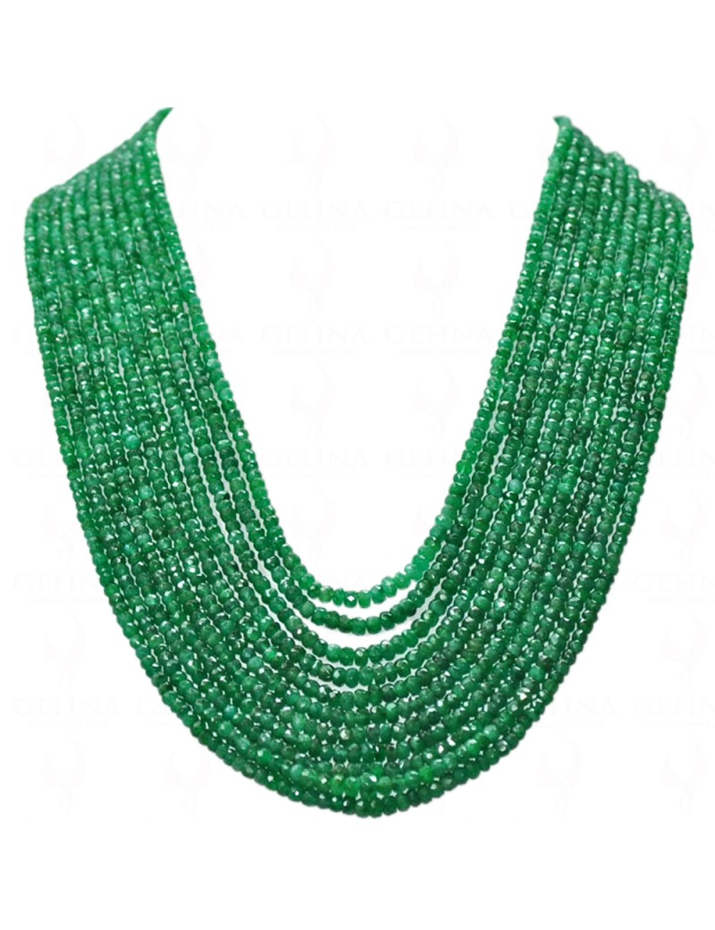 11 ROWS OF NATURAL EMERALD GEMSTONE FACETED BEAD NECKLACE NP1106