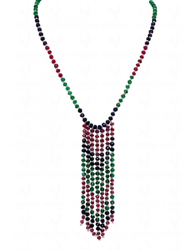 UNIQUE TIE NECKLACE OF EMERALD RUBY & SAPPHIRE GEMSTONE BEADS NP1109