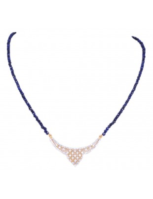 TANMANIYA ATTACHED WITH BLUE SAPPHIRE GEMSTONE FACETED BEAD NP1171