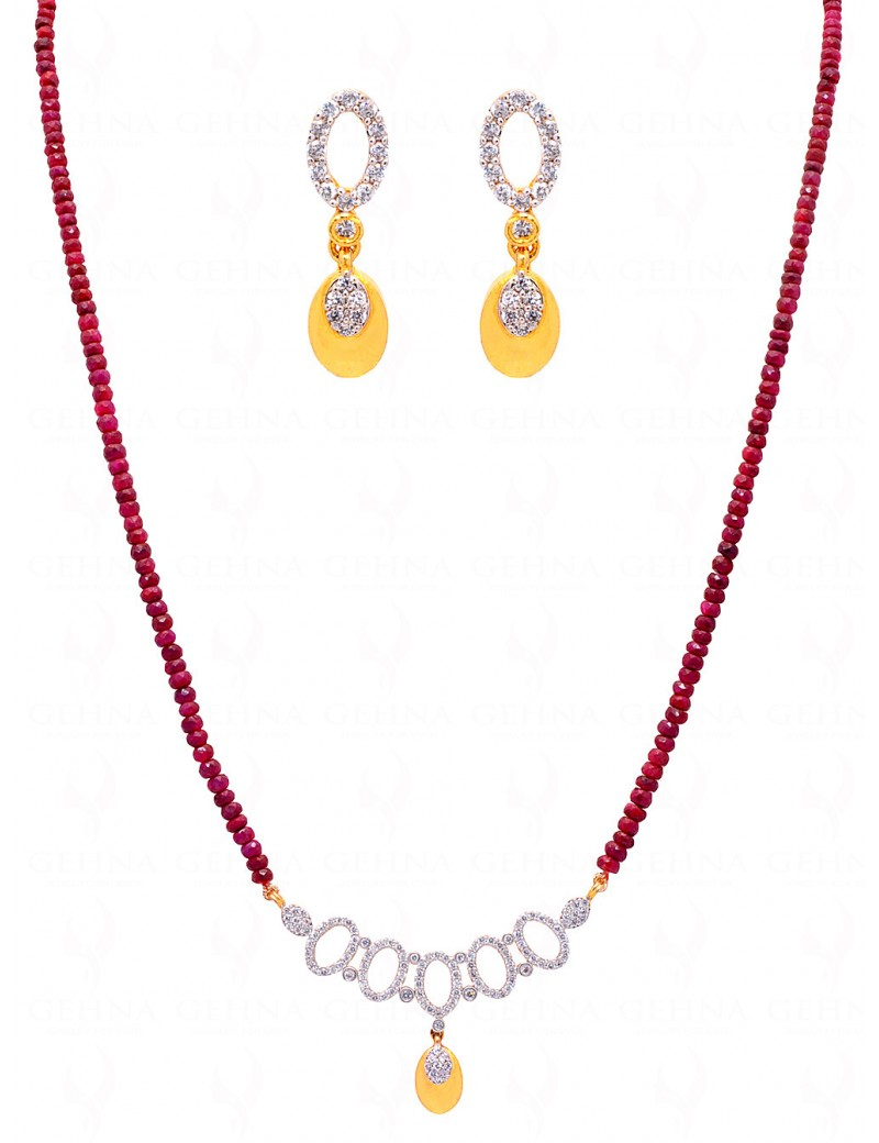 TANMANIYA ATTACHED WITH RUBY GEMSTONE FACETED BEAD NP1173