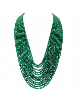 12 ROWS EMERALD GEMSTONE FACETED BEAD NECKLACE NP1212