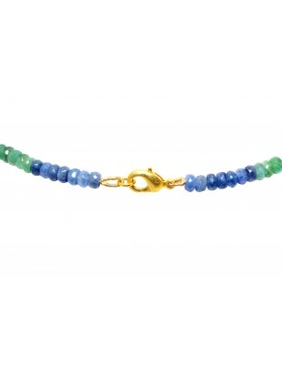 EMERALD ,RUBY & SAPPHIRE`S GEMSTONE FACETED BEAD NECKLACE NP1233