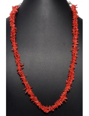 2 ROWS NATUARL CORAL GEMSTONE NECKLACE NP1315