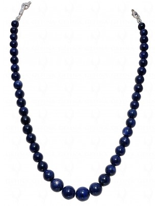 "14"" INCHES BLUE SAPPHIRE GEMSTONE BEAD NECKLACE NP1347"