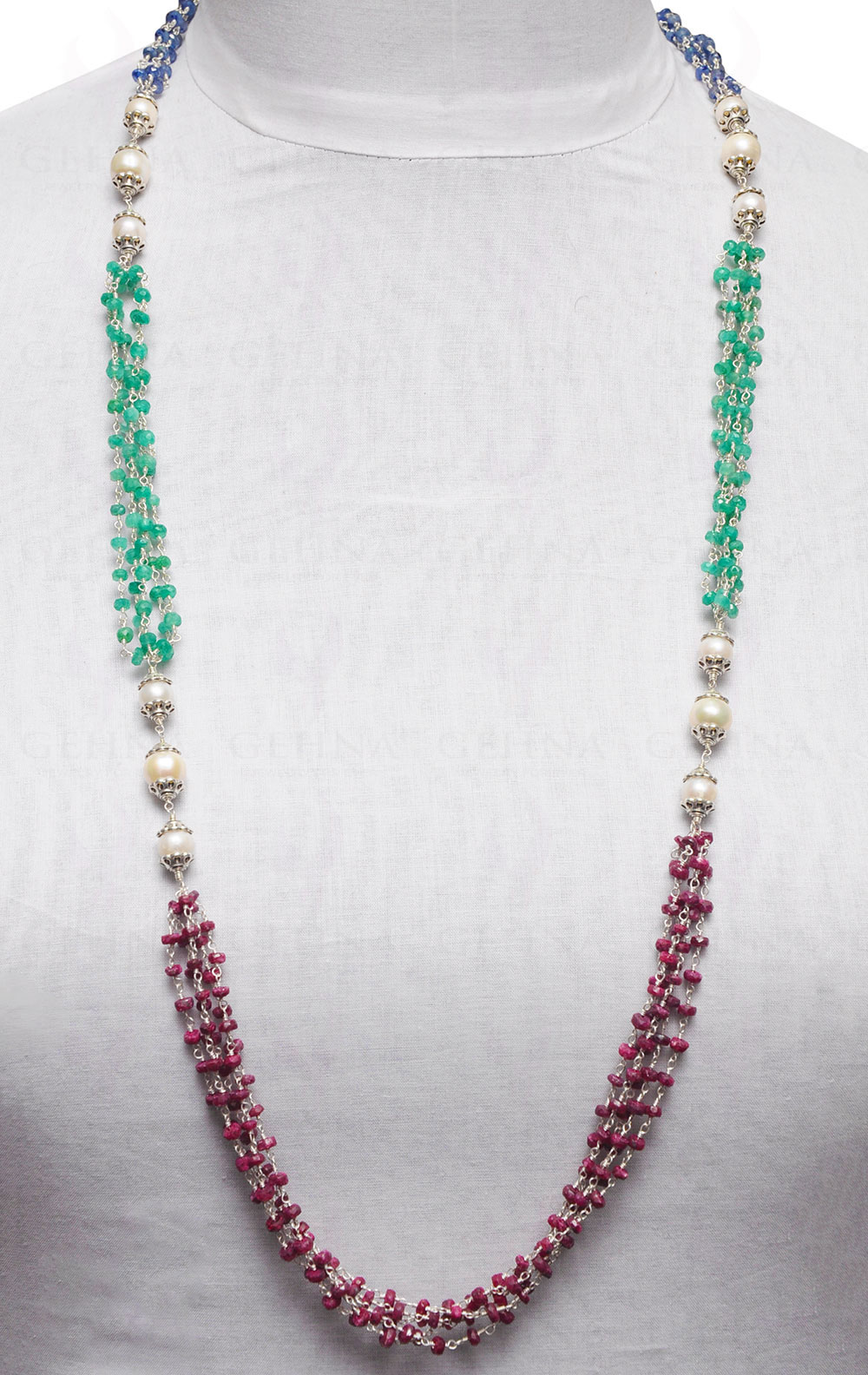 Natural Multi Precious Faceted Rondelles Blue sapphire Strand Size 3-3.25mm 16 Inches Emerald Ruby