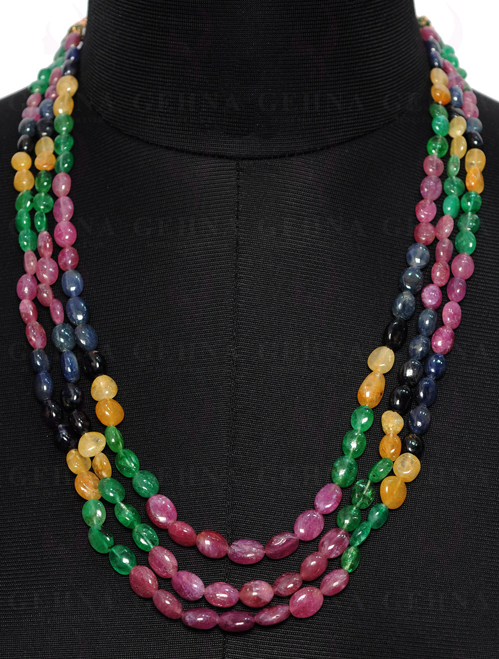 Ruby And Sapphire Gemstone Oval Bead Necklace NP1254 3 Rows Emerald