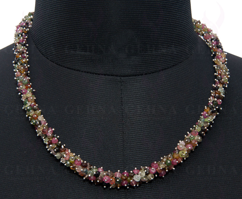"""Jewelry & Watches Fine Jewelry Disciplined 20"""" Inches Multi Tourmaline Gemstone Faceted Bead Necklace Ns1534"""